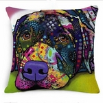 Multi Coloured Lying Great Dane Cushion Cover